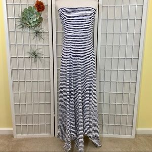 Strapless Navy and White Striped Maxi Dress